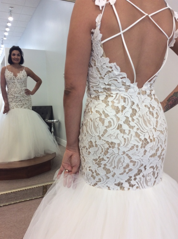 8cfdca90cbd0 Occasionally we come across a bride who falls in love with a gown like this  one but apart of her criteria contained BLING. We always suggest bringing  the ...